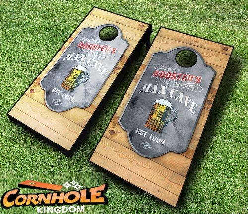 Personalized man cave cornhole set with bags